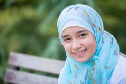 Happy muslim girl outdoor