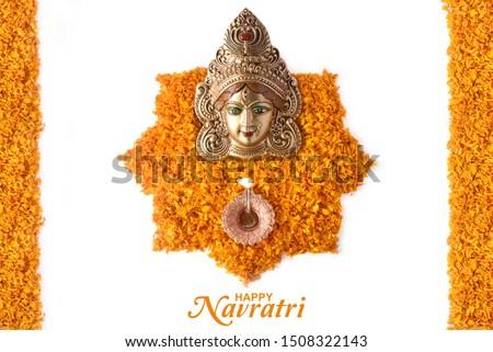 Happy Navratri, Durga Pooja, Marigold Flower Petals Decoration, Maa Durga face in Metal