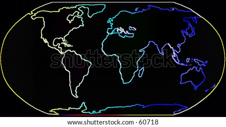Happy Neon Map of the World
