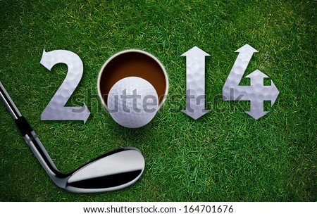 Happy New Golf year 2014 Golf ball and putter on green grass the same concept available for 2015 2016 and 2017 year