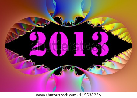Happy 2013 new-year. Abstract artistic fractals. Digital generated graphic concept.