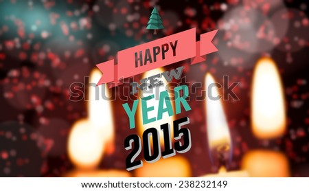 Happy new year against candle burning against festive background #238232149