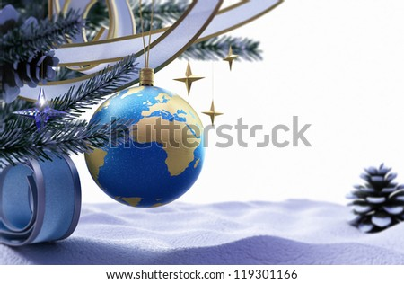 Happy New Year and Merry Christmas background with ice and decorations