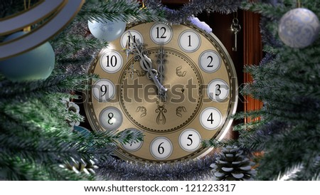 Happy New Year and Merry Christmas background with old clock,decorations, key and snow