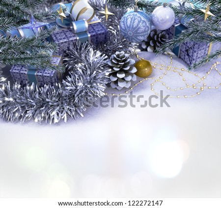 Happy New Year and Merry Christmas decorative composition with place for you text