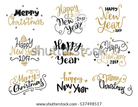 Happy New Year and Merry Christmas golden hand drawn lettering labels in funny style. Holiday greetings text