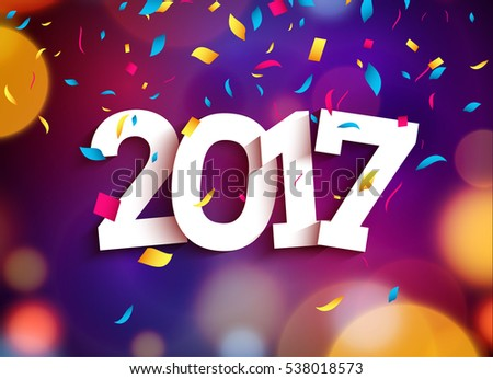 Happy New Year 2017 background decoration. Greeting card design template. illustration of date 2017 year. Celebrate brochure or flyer #538018573