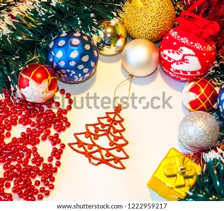 Happy New Year 2019, beautiful Christmas decorations, bright Christmas decorations, Christmas tree decorations, Christmas decorations in a festive holiday concept, close-up #1222959217