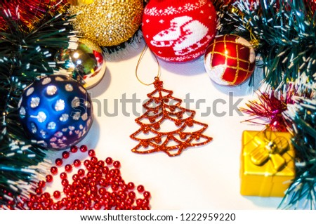 Happy New Year 2019, beautiful Christmas decorations, bright Christmas decorations, Christmas tree decorations, Christmas decorations in a festive holiday concept, close-up #1222959220