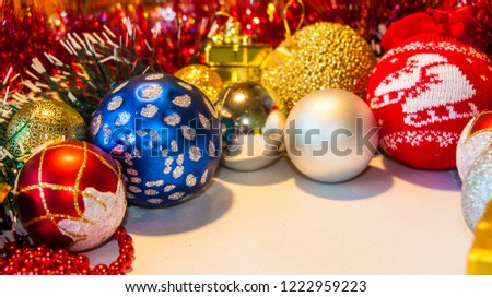 Happy New Year 2019, beautiful Christmas decorations, bright Christmas decorations, Christmas tree decorations, Christmas decorations in a festive holiday concept, close-up #1222959223