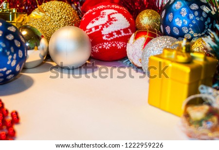 Happy New Year 2019, beautiful Christmas decorations, bright Christmas decorations, Christmas tree decorations, Christmas decorations in a festive holiday concept, close-up #1222959226