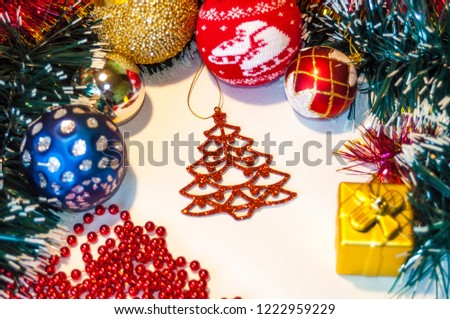 Happy New Year 2019, beautiful Christmas decorations, bright Christmas decorations, Christmas tree decorations, Christmas decorations in a festive holiday concept, close-up #1222959229
