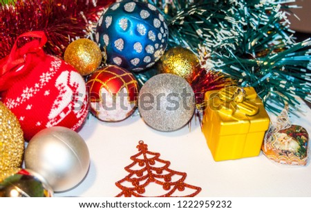 Happy New Year 2019, beautiful Christmas decorations, bright Christmas decorations, Christmas tree decorations, Christmas decorations in a festive holiday concept, close-up #1222959232