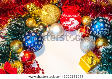 Happy New Year 2019, beautiful Christmas decorations, bright Christmas decorations, Christmas tree decorations, Christmas decorations in a festive holiday concept, close-up