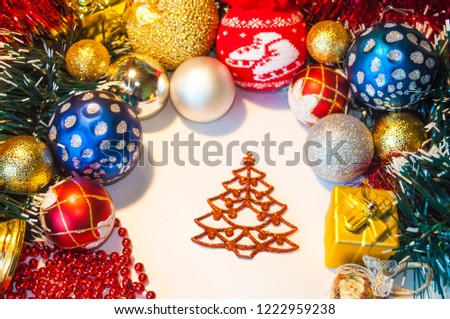 Happy New Year 2019, beautiful Christmas decorations, bright Christmas decorations, Christmas tree decorations, Christmas decorations in a festive holiday concept, close-up #1222959238