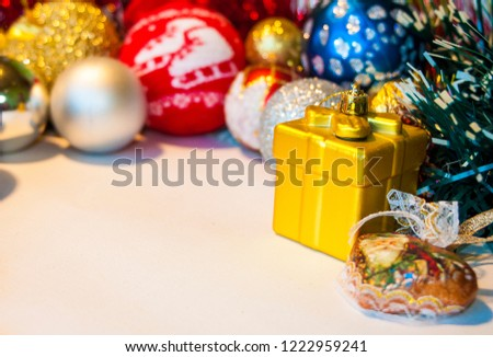 Happy New Year 2019, beautiful Christmas decorations, bright Christmas decorations, Christmas tree decorations, Christmas decorations in a festive holiday concept, close-up #1222959241