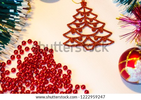 Happy New Year 2019, beautiful Christmas decorations, bright Christmas decorations, Christmas tree decorations, Christmas decorations in a festive holiday concept, close-up #1222959247
