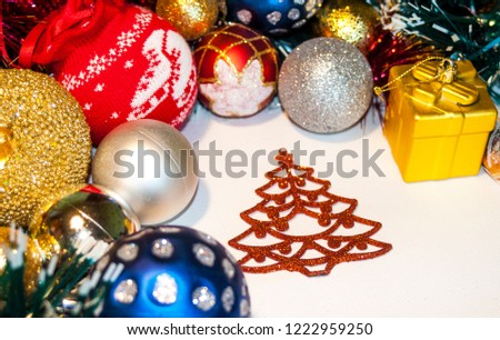 Happy New Year 2019, beautiful Christmas decorations, bright Christmas decorations, Christmas tree decorations, Christmas decorations in a festive holiday concept, close-up #1222959250