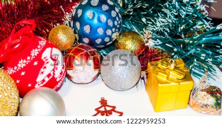 Happy New Year 2019, beautiful Christmas decorations, bright Christmas decorations, Christmas tree decorations, Christmas decorations in a festive holiday concept, close-up #1222959253