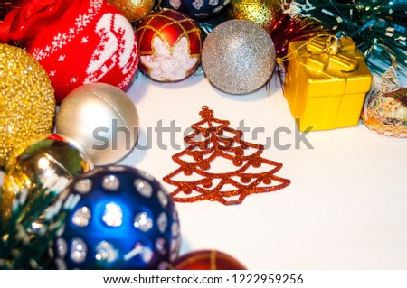 Happy New Year 2019, beautiful Christmas decorations, bright Christmas decorations, Christmas tree decorations, Christmas decorations in a festive holiday concept, close-up #1222959256