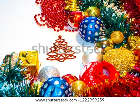 Happy New Year 2019, beautiful Christmas decorations, bright Christmas decorations, Christmas tree decorations, Christmas decorations in a festive holiday concept, close-up #1222959259