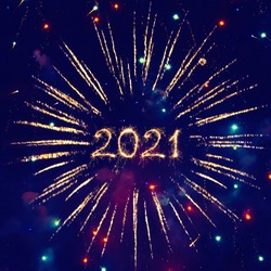 Happy New Year 2021. Beautiful creative Square holiday web banner or billboard with Golden sparkling Year 2021 written sparklers on festive blue background.
