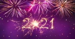 Happy New Year 2021. Beautiful holiday creative greeting card or web banner with Golden sparkling lettering Happy New Year 2021 written sparklers on purple background.