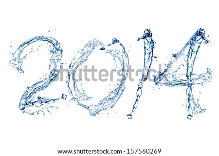 Happy New Year 2014 by Pure splash of water isolated on white background
