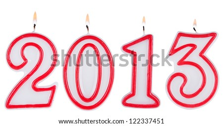 Happy new year 2013 candle digits isolated on white background