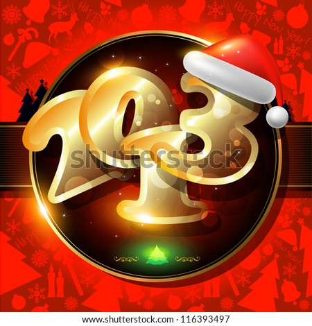 Happy New Year card or  background with ribbons, Santa`s hat,  snowman, candles, snowflakes, deer,  tree, balls, stars. - stock photo
