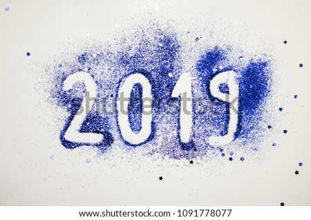 Happy new year card 2019 with glitters #1091778077