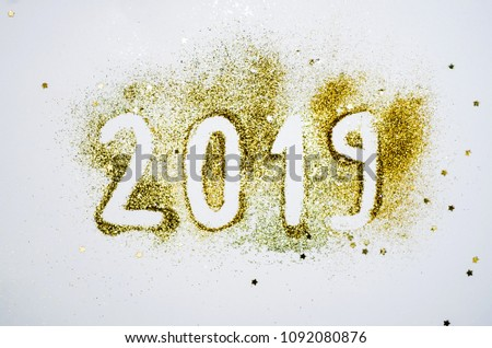 Happy new year card 2019 with glitters #1092080876