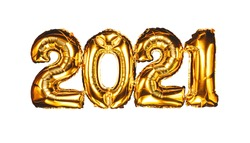 Happy New year 2021 celebration. Bright gold balloons figures New Year Balloons with glitter stars on white background. Christmas and new year celebration. Gold foil balloons numeral 2021 and confetti