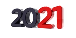Happy New Year 2021 celebration 3d text. Red 2021 number calendar template