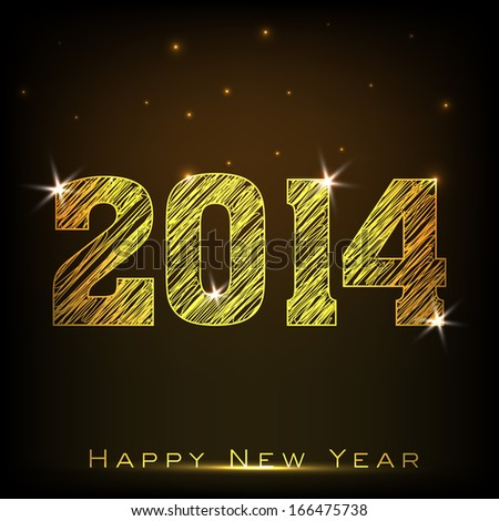 Happy New Year 2014 celebration flyer, poster, banner or invitation with golden text on shiny brown background.  #166475738