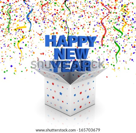 happy new year celebration gift box and confetties