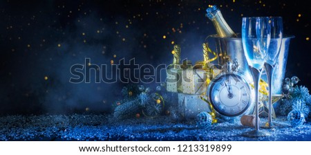 Happy New Year 2019! Christmas and New Year holidays background, winter season.  #1213319899