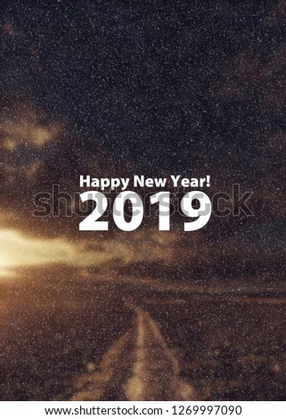 Happy New Year 2019. Christmas concept. Blurred image background #1269997090