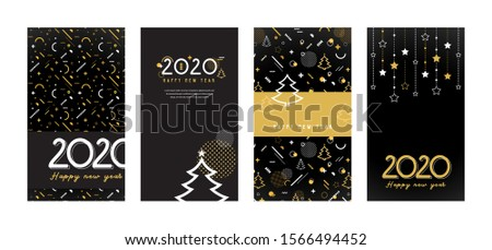 Happy New Year 2020 . Collection of greeting background designs, New Year, social media promotional content. Vector illustration