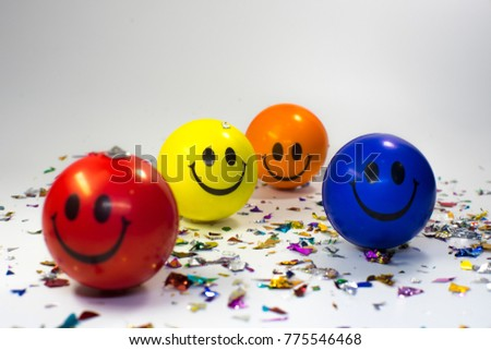 Happy New Year colorful ball smiling celebration for new year 2018 isolate white background  #775546468