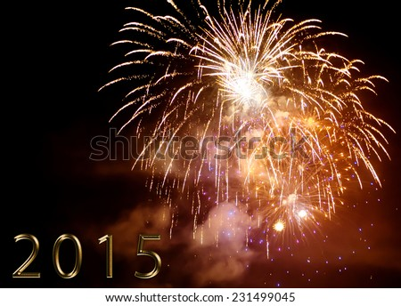 happy new year 2015 - colorful firework by night