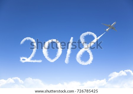 happy New year 2018 concept.drawing by airplane in sky