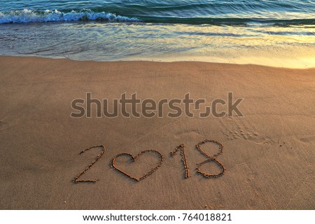 happy new year concept, 2018 hand written on the sea. #764018821