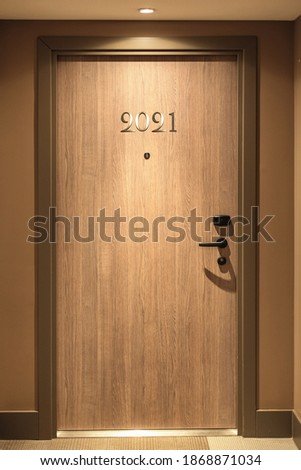 Happy New Year 2021 concept, lettering on the Hotel door.
