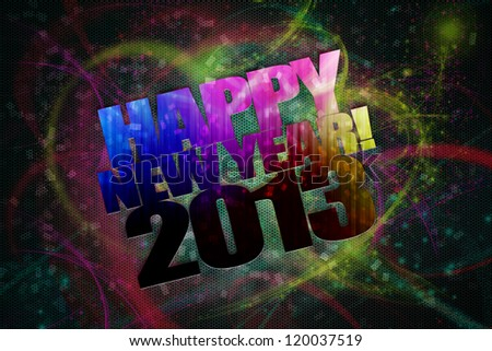 Happy New Year 2013  concept with colorful background