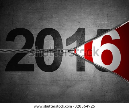 Happy new year concept. 2015 year change just unzip to 2016 #328564925