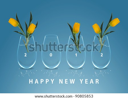Happy new year 2012, conceptual image vases with yellow tulip flowers making 2012 year numbers.