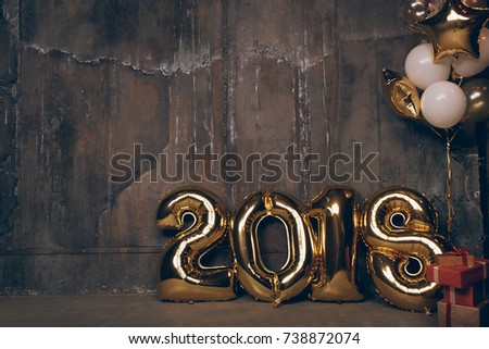 Happy New Year. Dark wall and Christmas attributes, gold balloons 2018. Preparing to Christmas party. #738872074