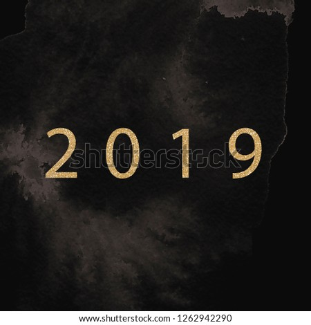 Happy new year design layout on black background with 2019 and gold stas. Vector illustration  #1262942290