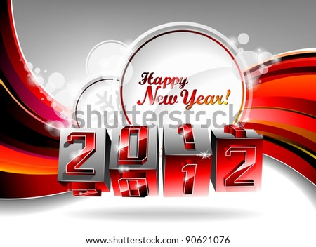 Happy New Year 2012 design with swirl cubes on a red background. (JPG)